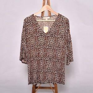 michael michael kors animal print leopard top XL